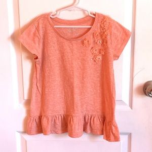 2/$15! Poof! Girls Flower Top with Hem Ruffle Sz L
